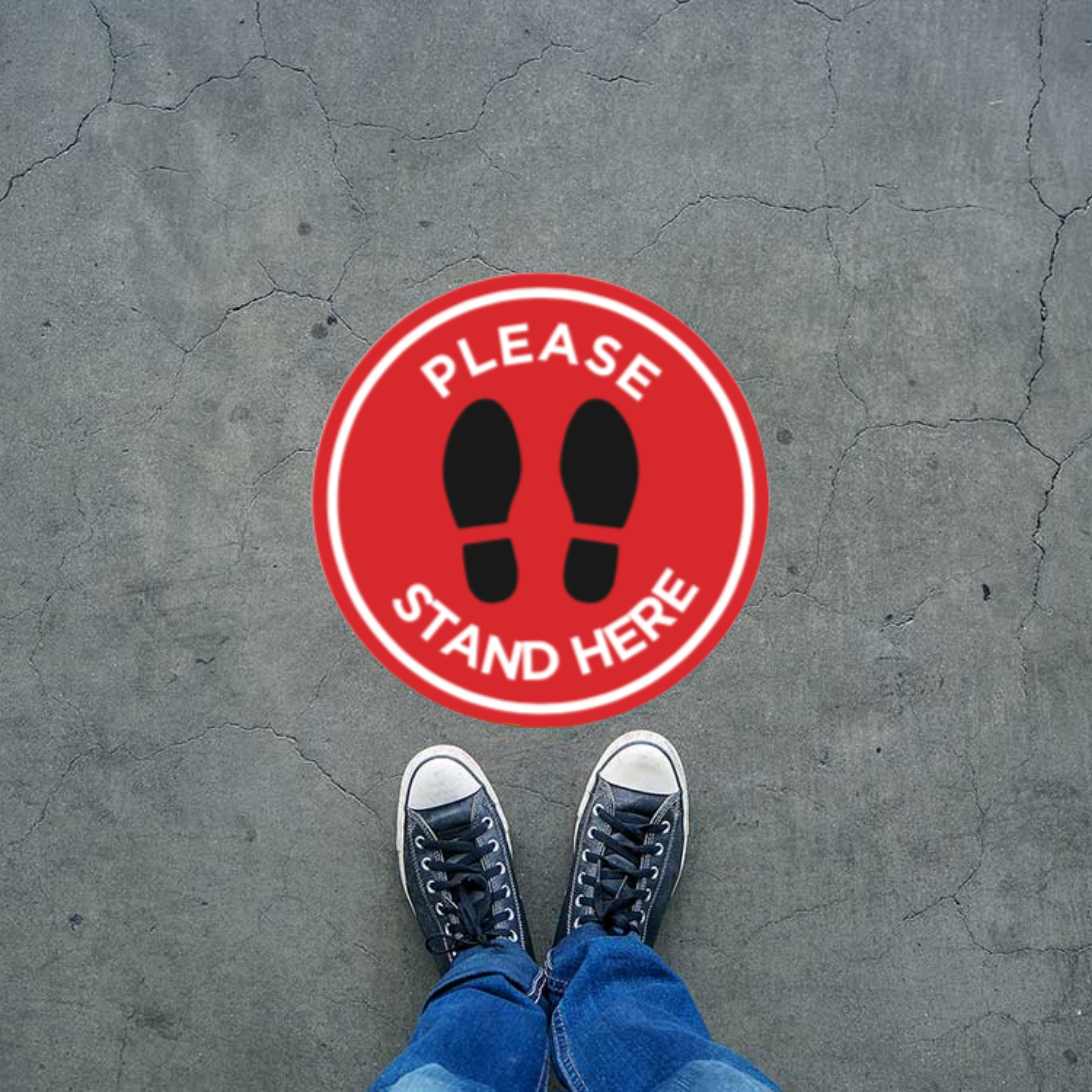 "Red Filled Circle Footprints with Wording (""Please Stand Here"") (Floor Decal) [101-06/102-06]"