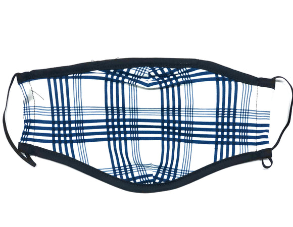 Reusable Face Mask (Blue Plaid) (Packs of 100/250/500/1500)