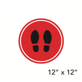 Red Filled Circle Footprints (Floor Decal) [100-24]