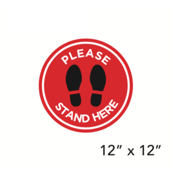 Red Filled Circle Footprints with Wording (