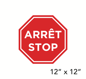 """STOP"" Bilingual Stop Sign Shape (Floor Decal) [103-07]"