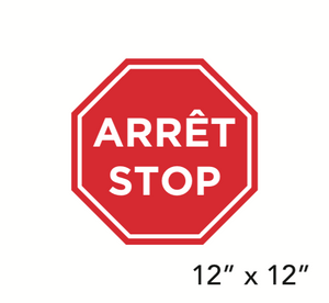 """STOP"" Bilingual Stop Sign Shape (Wall Decal) [203-07]"