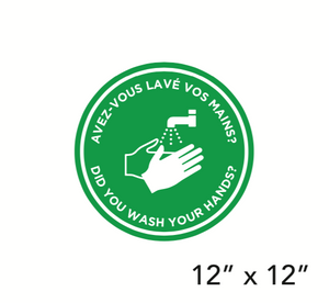 """Did You Wash Your Hands?"" Bilingual Green Filled Circle (Floor Decal) [103-01]"