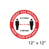 Red Circle Bilingual Social Distancing Diagram (Wall Decal) [203-16]