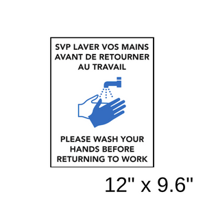 """Please Wash Your Hands Before Returning To Work"" Bilingual Diagram (Wall Decal) [203-13]"