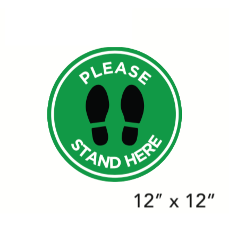 "Green Filled Circle Dark Footprints with Wording (""Please Wait Here"") (Floor Decal) [101-31]"