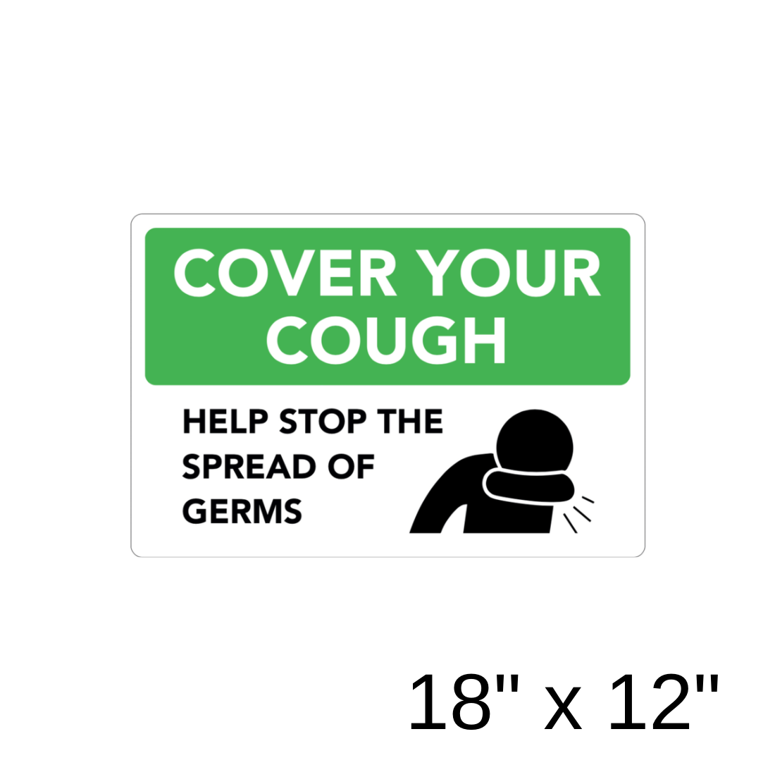 """Cover Your Cough"" 1-Part Diagram (Aluminum Sign) [301-11]"