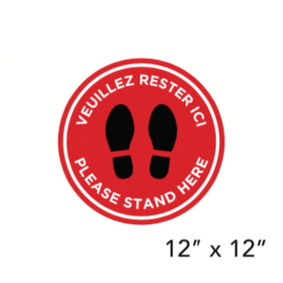 Red Filled Circle Footprints with Bilingual  Wording (