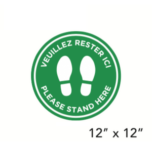"Green Filled Circle Footprints with Bilingual Wording (""Please Stand Here"") (Floor Decal) [103-05]"