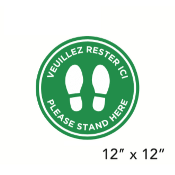 Green Filled Circle Footprints with Bilingual Wording (