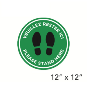 "Green Filled Circle Dark Footprints with Bilingual Wording (""Please Stand Here"") (Floor Decal) [103-31]"