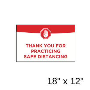 """Thank You For Practicing Safe Distancing"" Green Filled Rectangle (Wall Decal) [201-40]"