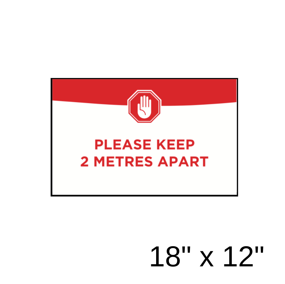 """Please Keep 2 Metres Apart"" Green Filled Rectangle (Wall Decal) [201-38]"