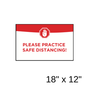 """Please Practice Safe Distancing!"" Green Filled Rectangle (Wall Decal) [201-39]"