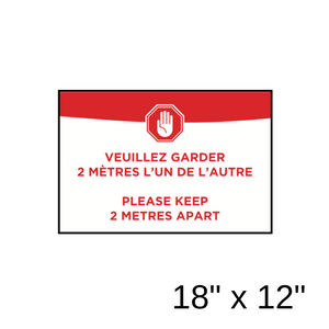 """Please Keep 2 Metres Apart"" Bilingual Green Filled Rectangle (Wall Decal) [203-38]"