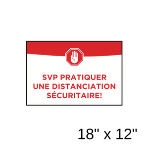 """SVP pratiquer une distanciation sécuritaire!"" Rectangle rempli vert (autocollant/décalcomanie mural) [202-39]"