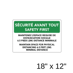 Safety First Bilingual (Aluminum Sign) [303-37]