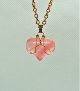 Cherry Quartz Heart Pendant wrapped with copper wire