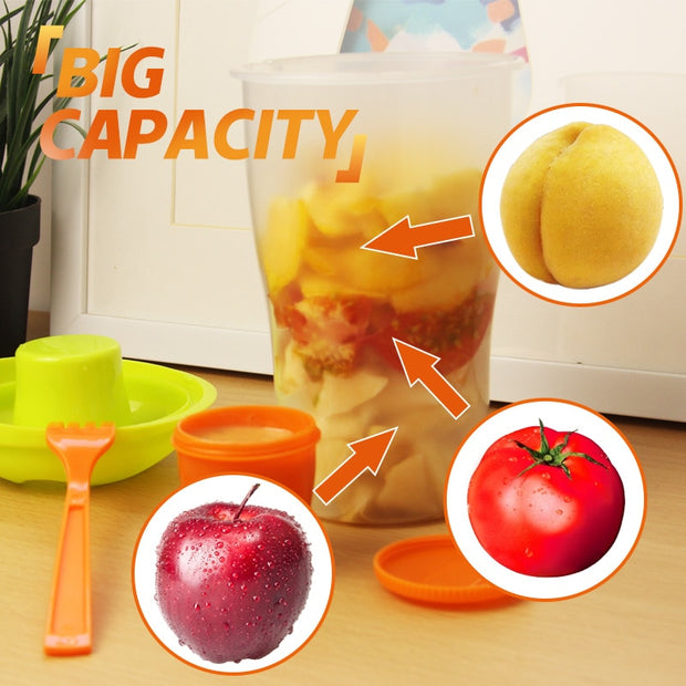 Salad Container Serving Lunch Cup With Portable Shaker - Galaxy Food Equipment