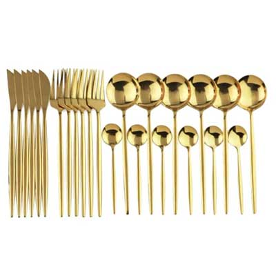 gold flatware 24 pieces set