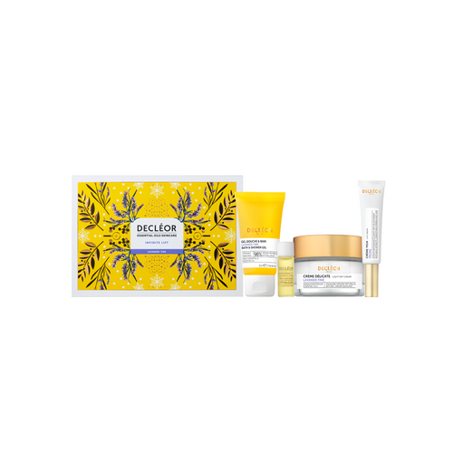 Decleor Infinite Lift By Day Lavender Iris Gift Set Includes Lavender Bath & Shower Gel, Lavender Light Day Cream, Prune Eye Cream and Aromessence Lavender Iris Oil Serum