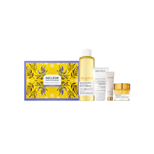 Decleor Infinite Lift By Night Gift Set contains, Lavender Fine Bath and Shower Gel 250ml Lavender Fine Night Balm 15ml Aroma Cleanse Hydra Radiance 3 in 1 Cleansing Mousse 50ml Prolagene Lift & Firm Mask 15ml