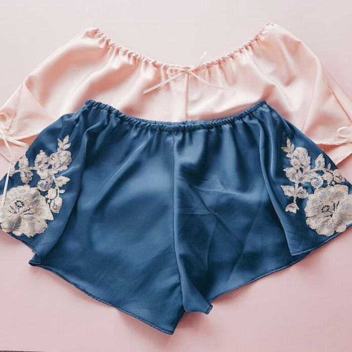 Pink and Blue Satin Sleep Shorts