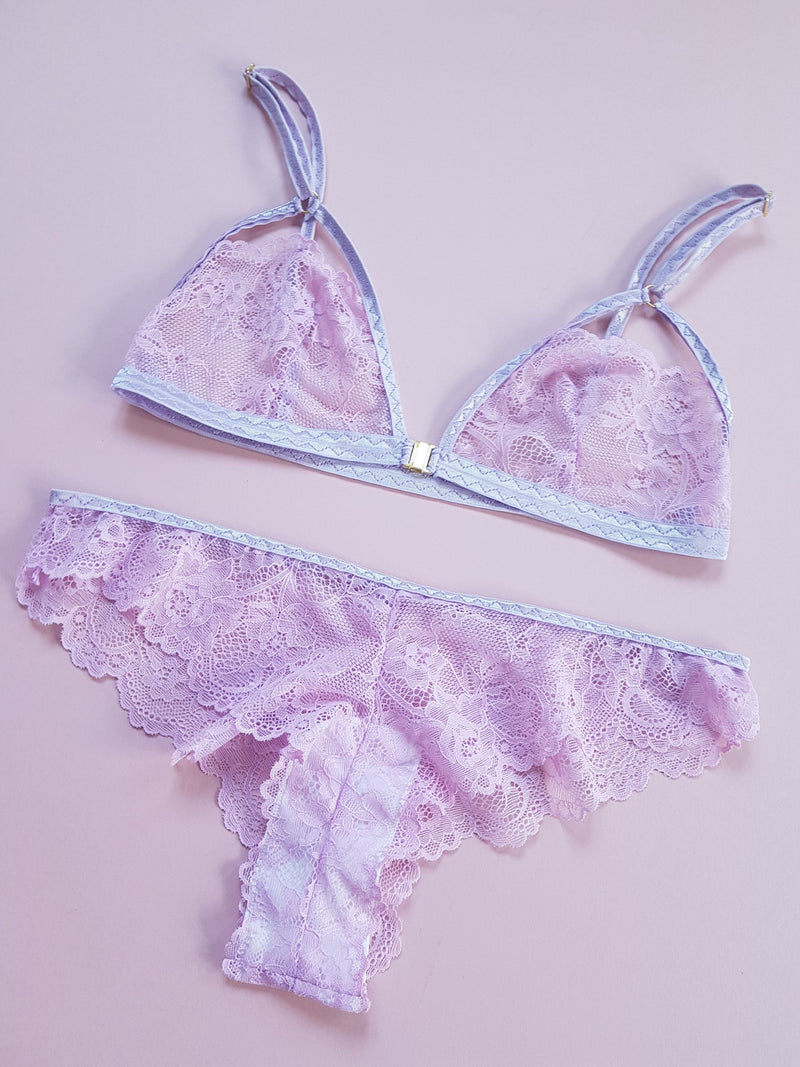 Odette Lilac Purple Floral Lace Knickers