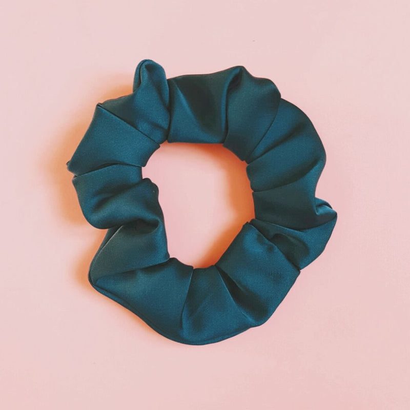 Teal Green Satin Silk Thick Scrunchie