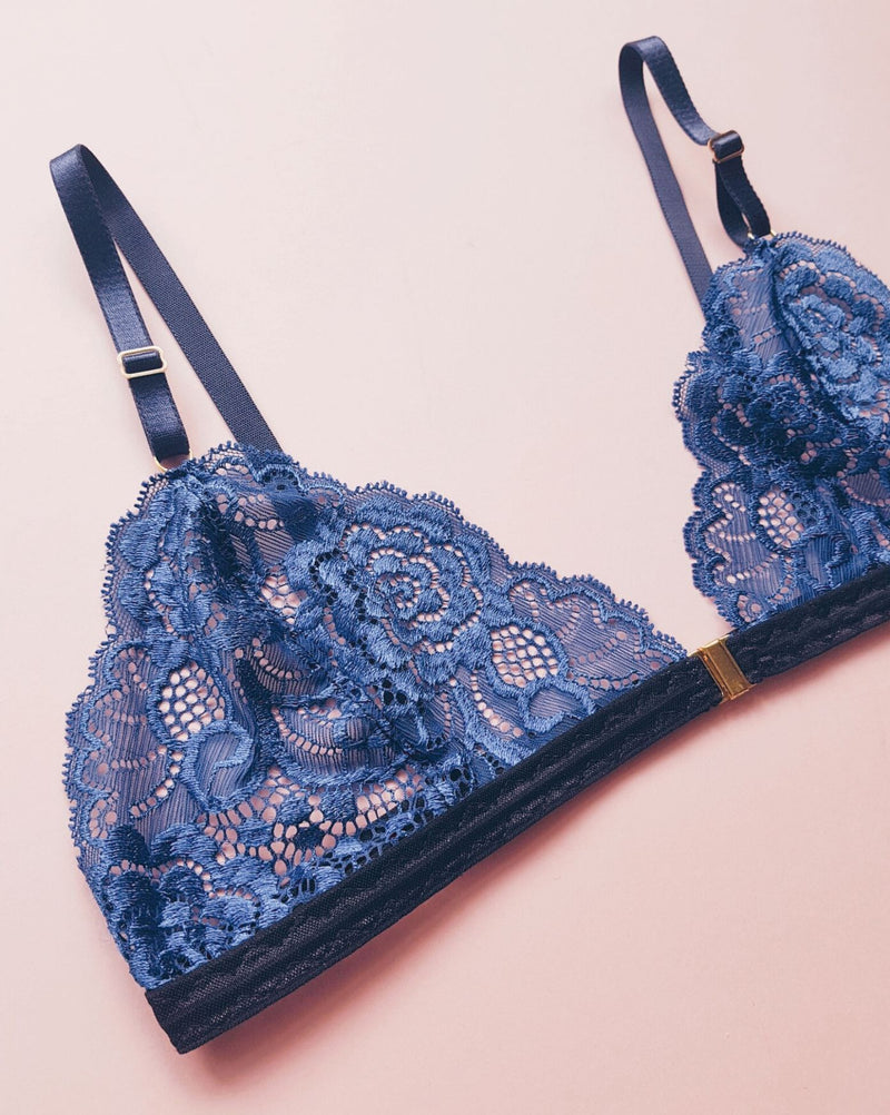 Holiday Deep Blue Lace Soft Bra with Center Clasp