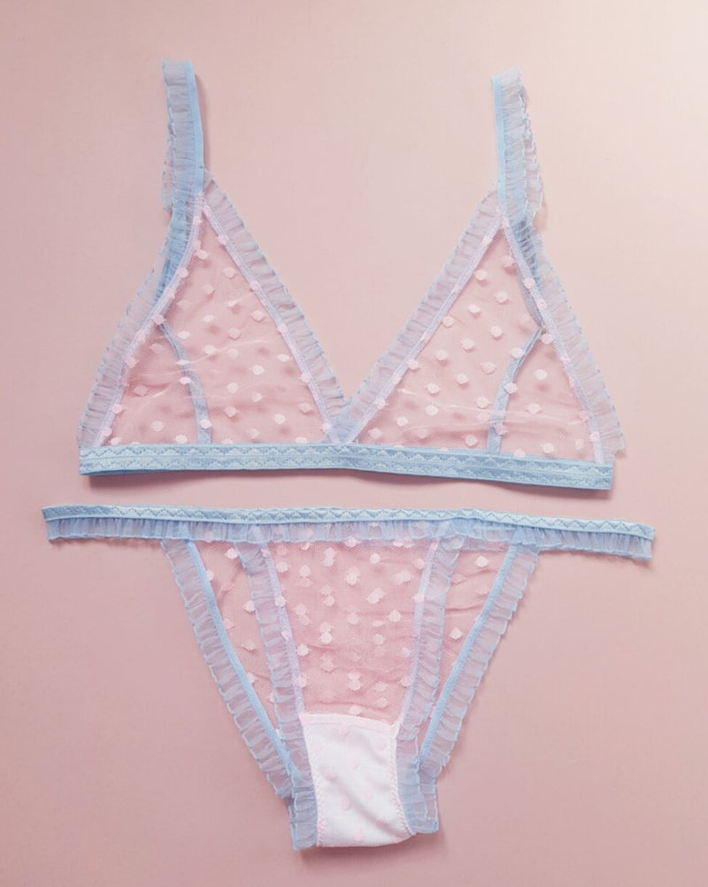 Marnie Pink Polka Dot and Blue Frilly Knickers