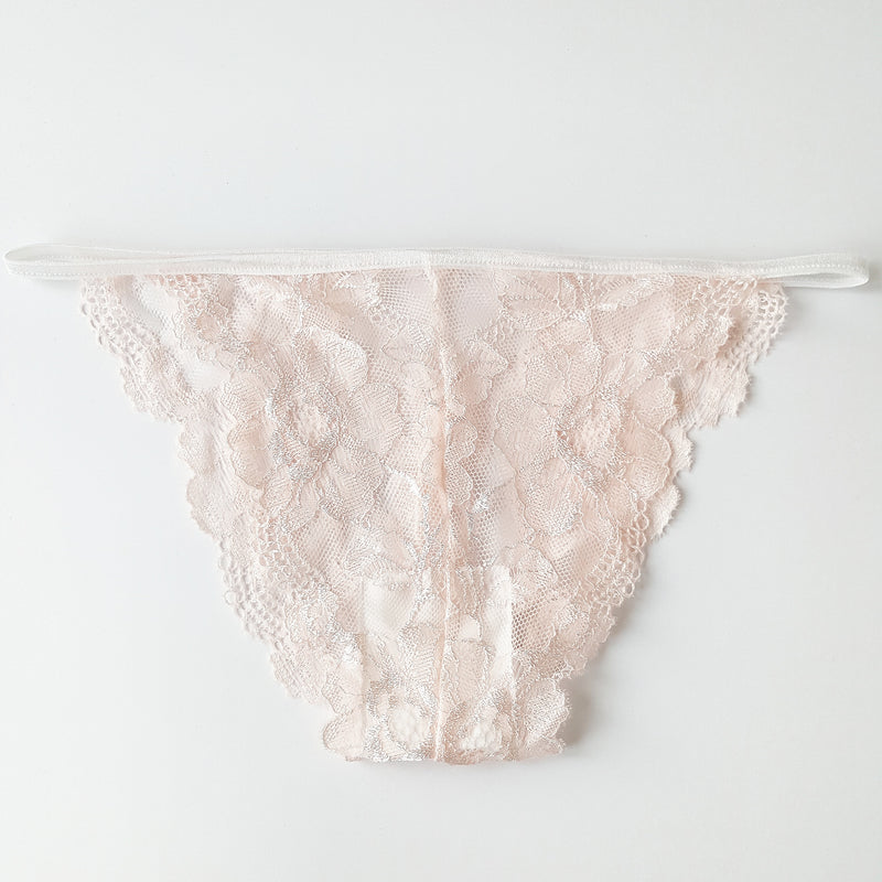 Florence Peach Lace Knickers - Size Small