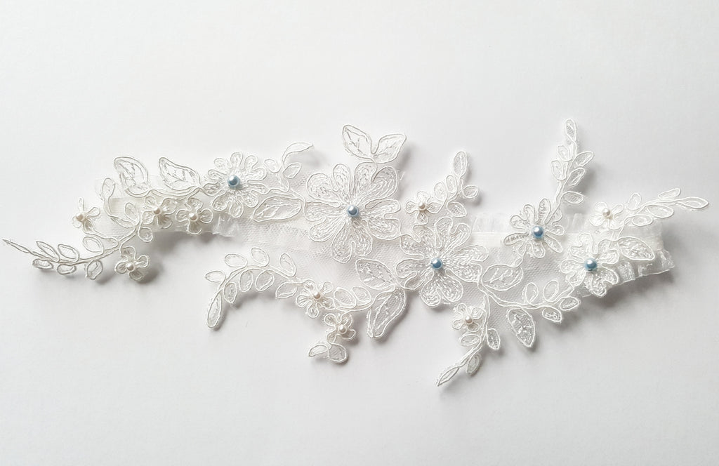 Marilyn Floral Lace, Blue and Ivory Pearl Beaded Wedding Garter