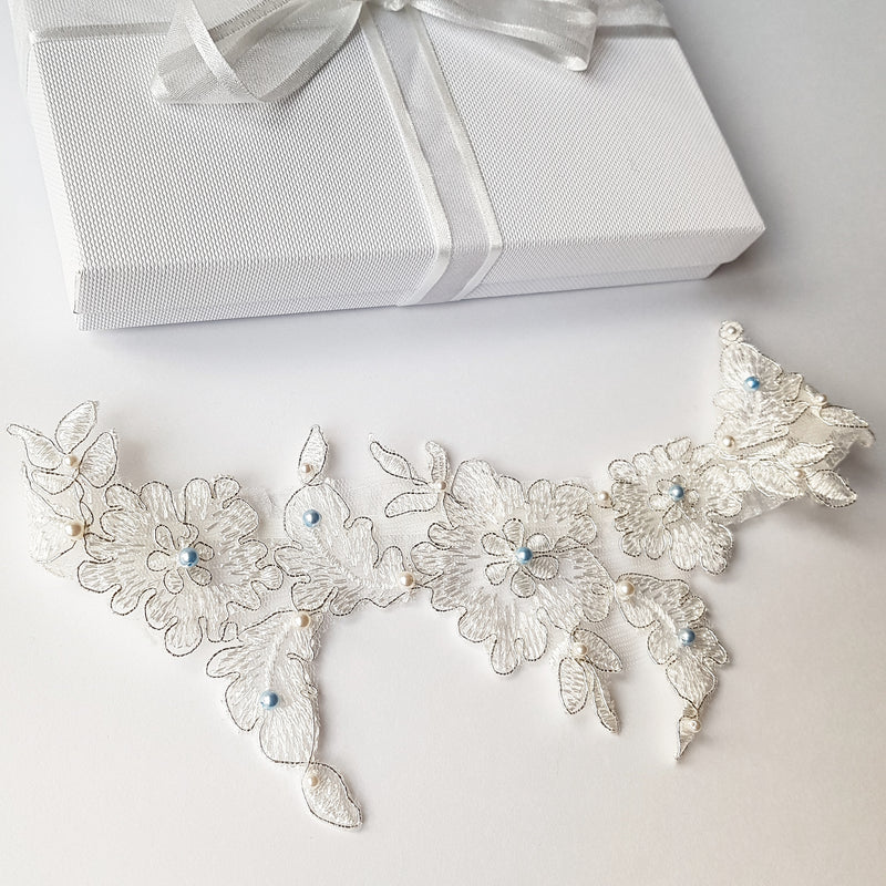 Farrah Vintage Inspired Floral Lace and Pearl Beaded Wedding Garter