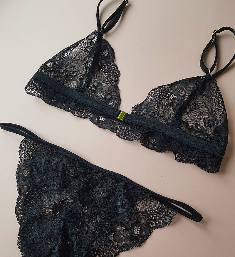 Penelope Black Floral Lace String Knickers