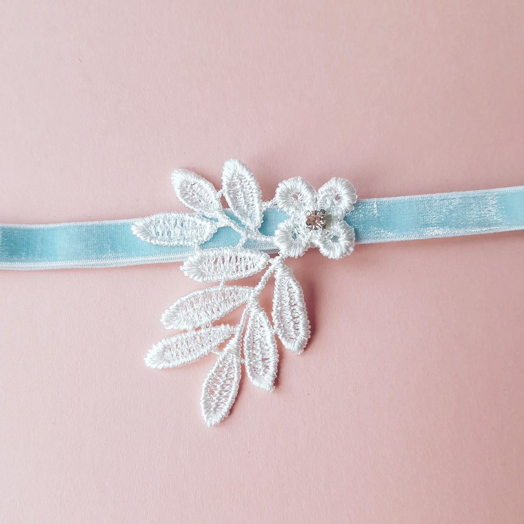 Erin Floral Lace Wedding Garter with Blue Band and Diamante
