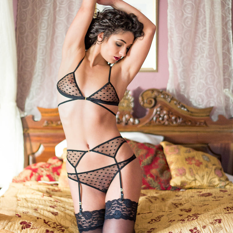 Vienna Sheer Black Polka Dot Suspender Belt