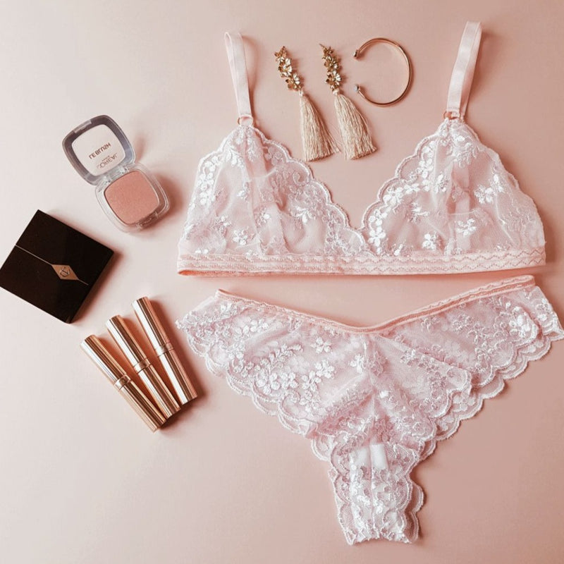 Isabella Pale Pink Floral Lace Soft Triangle Bra