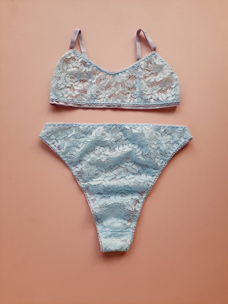 Freya Pale Blue and Lilac Floral High Waisted Lace Knickers