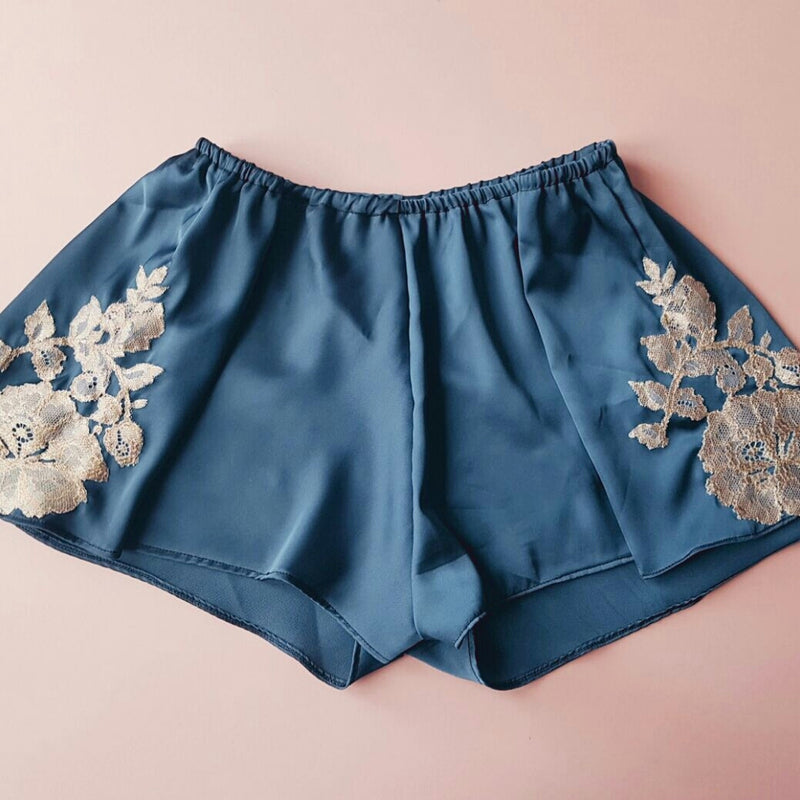 Giselle Teal Green Silk Satin Sleep Shorts with Gold Lace Detailing