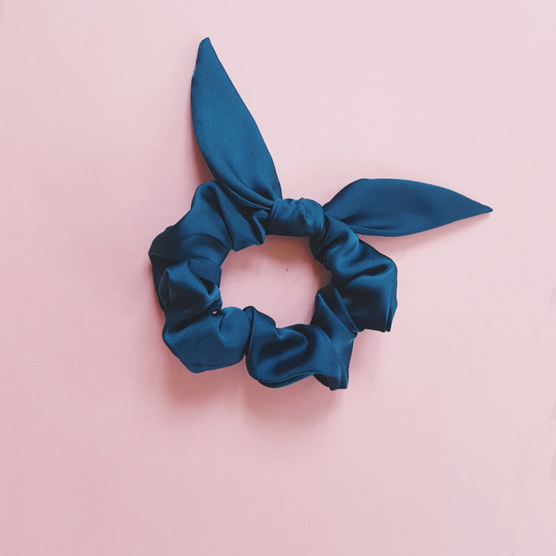 Teal Green Satin Silk Thick Scrunchie with Bow