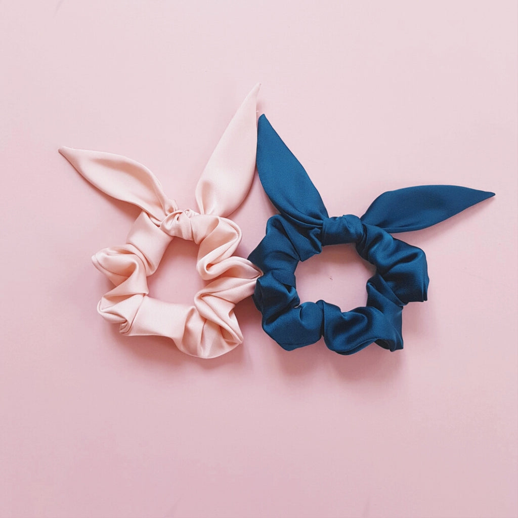 Duo Set of Thick Satin Silk Scrunchies with Bows