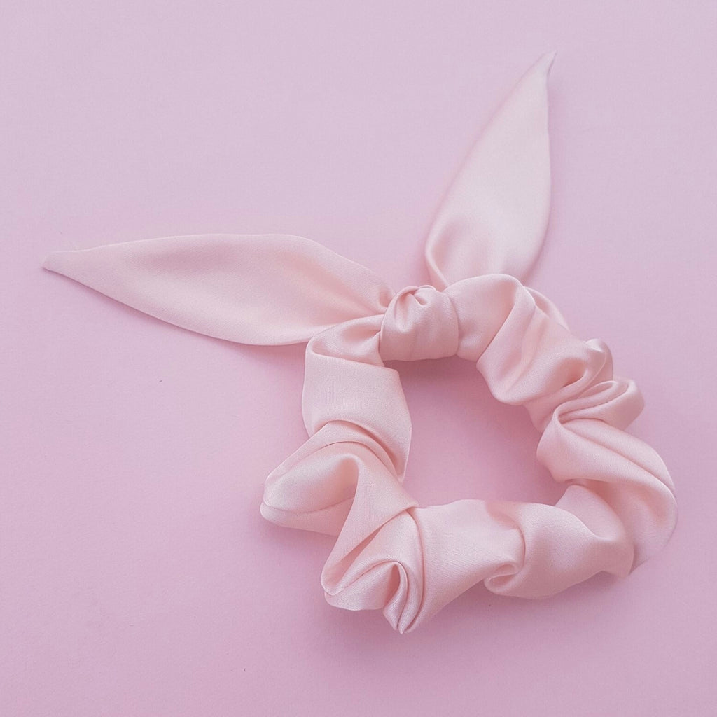 Pale Pink Satin Silk Thick Scrunchie with Bow