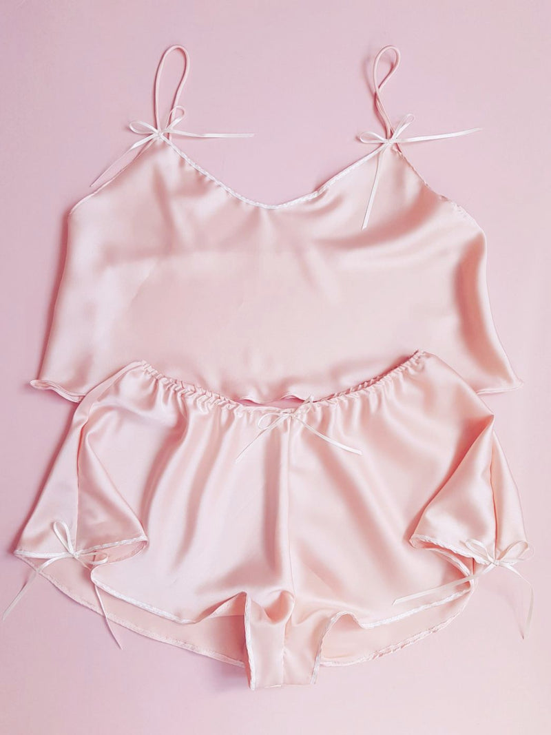 Neilla Pink Silk Satin Cropped Camisole Top with Ribbon Detailing