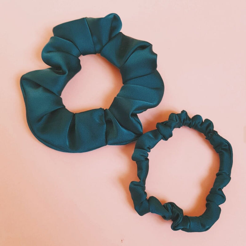 Set of Two Teal Green Satin Silk Scrunchies
