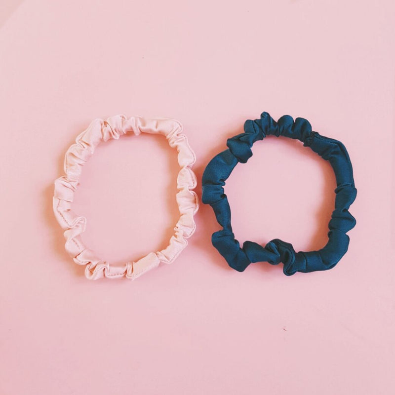 Duo Set of Skinny Satin Silk Scrunchies