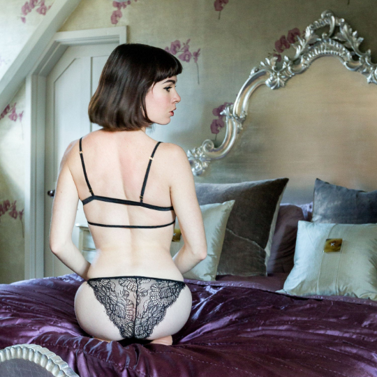 London Black Eyelash Lace String Knickers