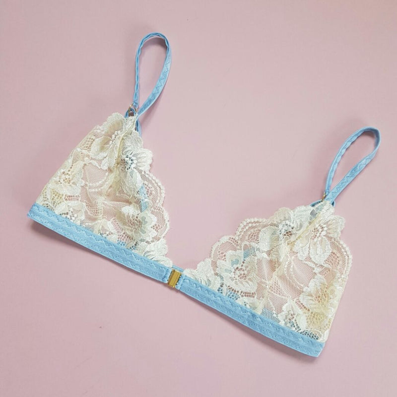 Meadow Yellow Floral Lace Front Clasp Soft Bra with Baby Blue Satin Trim