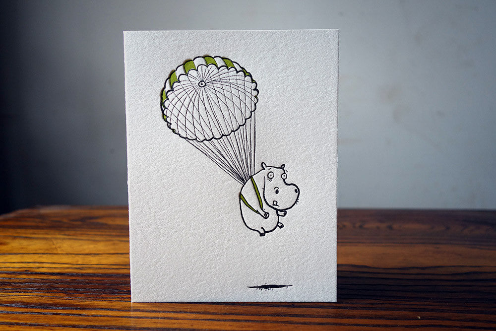 Parachuting Hippo Card