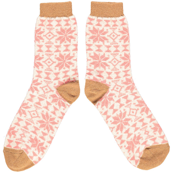 Catherine Tough Women's Lambswool Ankle Socks - Fair Isle in Blush